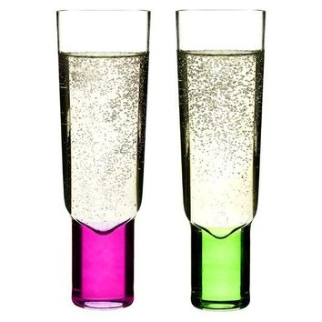 Target:Champagne Glass Set of 2 - Green & Pink (6 oz.)