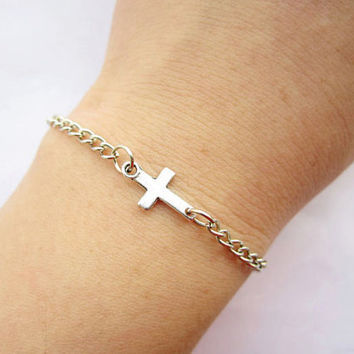 Bracelet---antique silver little cross&alloy chain