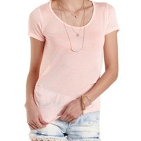 Ruched Crochet-Back Tee by Charlotte Russe