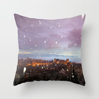 Snowing in the Alhambra, Granada, Spain at sunset Throw Pillow by Guido Montañés