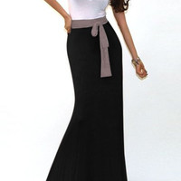 White and Black Color Block Maxi Dress