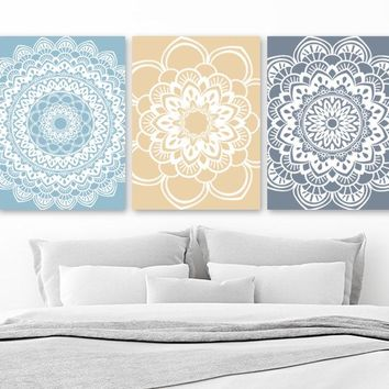 MANDALA Wall Art, Blue Beige Bedroom Pictures, Blue Beige Bathroom Decor, Mandala Pictures, Home Decor Pictures, Set of 3 Canvas or Prints