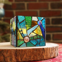 Colorful Retro Style Stained Glass Candleholder, Blue Glass Mosaic Bowl, Mosaic Candleholder, Stained Glass Vase