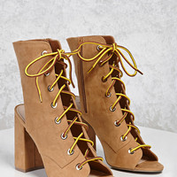 Lace-Up Open-Toe Boots