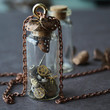 Glass vial necklace steampunk necklace steampunk gear jewelry vintage cogs necklace neo victorian jewelry READY to ship gift CARPE DIEM