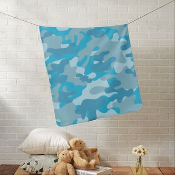 Pretty Blue Camouflage Pattern Receiving Blanket