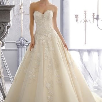 Mori Lee 2671 Strapless Tulle Ball Gown Wedding Dress