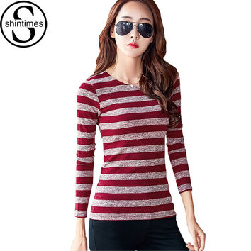 Sueter Mujer Striped Woman Sweater 2016 Women Sweaters And Pullovers Knitted Korean Pullover O-Neck Slim Long Sleeve Pull Femme