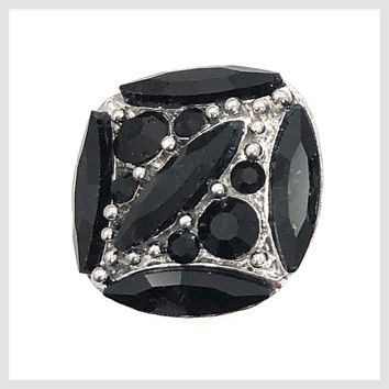 Black Crystals Square 22mm 3/4""