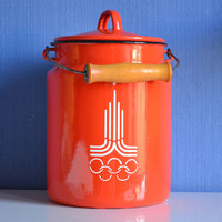 Vintage enamel milk can with  Olympic Symbol 1980, Old milk can with pictures, Vintage kitchen milk canister Vintage orange cookie jar