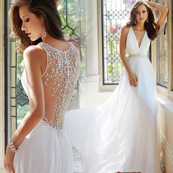 Beach Vestido De Noiva 2017 A-line Deep V-neck Appliques Beaded Vintage Wedding Dresses Wedding Gown Bridal Dresses Bridal Gown