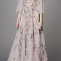 Flutter Sleeve Embroidered Gown | Moda Operandi