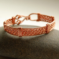 Wire Wrapped Woven Bracelet  Copper Bangle by MiscellaneaEtcetera