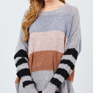 LONG DOLMAN SLEEVE ROUND NECK MULTI COLOR BLOCK SWEATER CHARCOAL/GREY