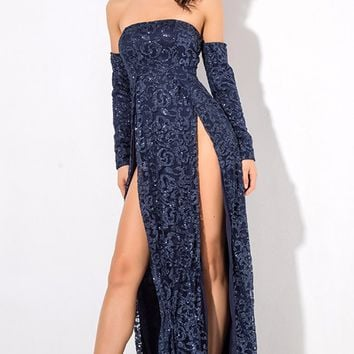 Give It Up Navy Glitter Swirl Pattern Long Sleeve Off The Shoulder Double Slit Maxi Dress