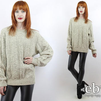 Vintage 90s Taupe Sweater 90s Sweater Oversized Sweater Oversized Knit Textured Knit Women's Sweater Men's Sweater Cable Knit Sweater