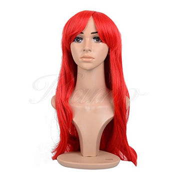 Kamo 28 Inches Wine Red Long Big Wave Hair Synthetic Cosplay Wig Costume Wig