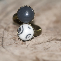 Blue and graphic adjustable double glass ring