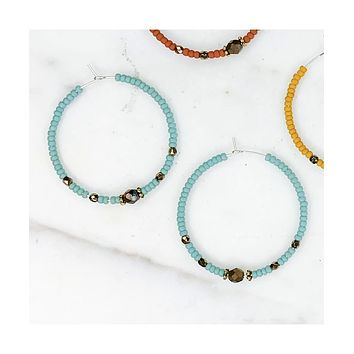 Matte Seed Bead Hoops, Turquoise