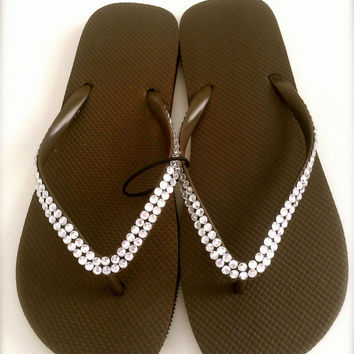 Jeweled Brown Flip Flops 9/10