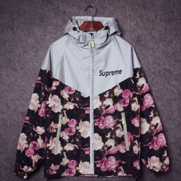 Supreme Unisex Floral Printed Lighting Windbreaker