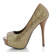 Bronze Glitter 'Mealy' Peep Toe High Heel Platform Pumps