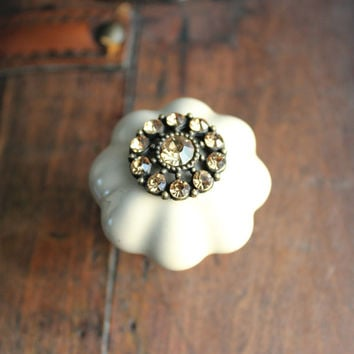 Crystal Ceramic Drawer Knobs in Sand Brown wit Colorado Topaz Crystals (CK47 B)