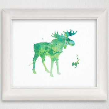 Giclee Print, Watercolor Moose Print, Moose Print, Moose Painting, Moose Poster, Nursery Art Print, Woodland, Forest Animals, Wall Decor