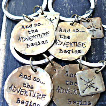 And So The ADVENTURE Begins - Hand Stamped Keychain - Graduation Gift - Compass Keychain - Graduation Gift For Him