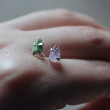 summer Emerald green rough gemstone stud earrings-raw Amethyst stud earrings-sterling silver post earrings-unique gypsy boho raw stone studs