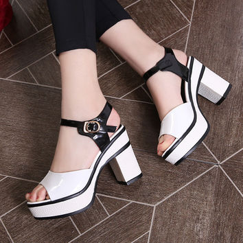 Mixed Colors Platform Sandals Women Chunky Heel Pumps High Heels Shoes Woman