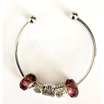 Owls, Butterfly, Brown Charms Bangle Bracelet