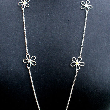 Silver 925 necklace, chain necklace with daisies, daisy swarovski necklace, spring jewelry