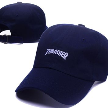 The New Thrasher Embroidery Cotton Baseball Cap Hats- Navy Blue
