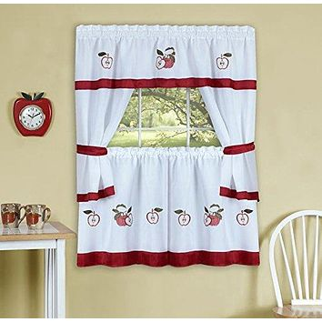 Ben&Jonah Collection Gala Embellished Cottage Window Curtain Set - 58x24 Tailored Tier Pair/58x36 Tailored Topper with attached swaggers and tiebacks. - Rose