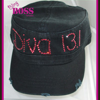 Rhinestone Custom Hat Any word Bling Design your own Colors 13.1 diva marathon Ladies sparkle Women Custom personalized Glitter Hat Gift