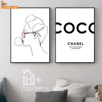 Girl Bubble Quotes Wall Art Canvas Painting Nordic Posters And Prints Black White Pop Art Wall Pictures For Living Room Decor