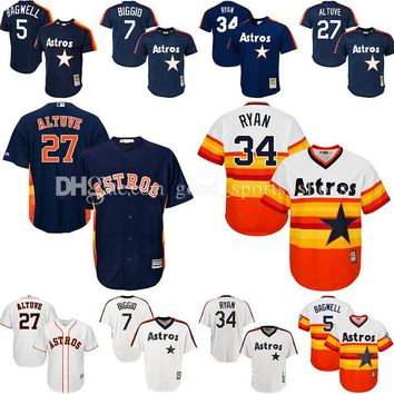 Throwback Houston Astros baseball jerseys Jeff Bagwell 7 Craig Biggio 34 Nolan Ryan 27 Jose Altuve Cooperstown Mesh Batting Practice Jersey