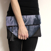 Oversized Foldover Clutch Bag, Violet Shibori Purse, Hand Dyed Clutch, Black Violet Clutch, Tie Dye Clutch,Violet Shibori Clutch,Tassel Bag