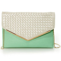 Good Weave-ning Beige and Mint Clutch