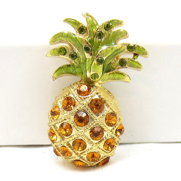 Gold Tone Rhinestone Pin Brooch Green Yellow  Pineapple Food Gold Tone Jewelry High End Designer Estate Vintage Jewelry Shawl Scarf Pin