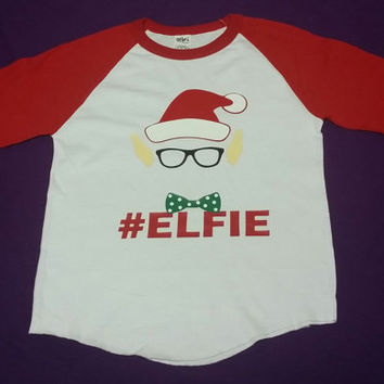 Christmas Elf Baseball Tshirt, #Elfie Holiday Baseball TShirt, Selfie Elf Baseball TShirt