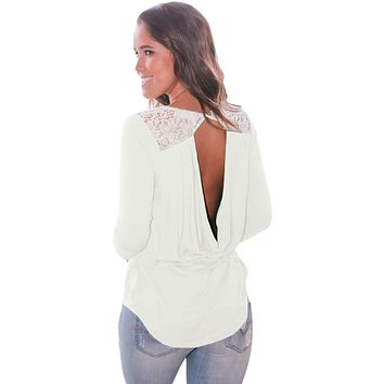 White Lace Shoulder Low Cut Back Top