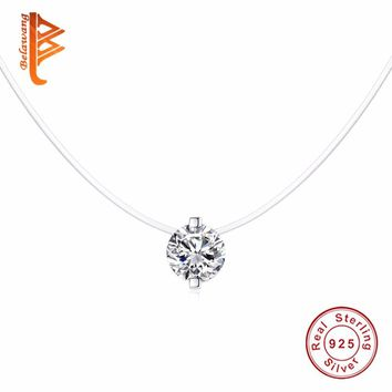 BELAWANG Pure 925 Sterling Silver Necklace Female Crystal Ball Pendant Necklace Silver Chain Elegant Brief Anti-allergic