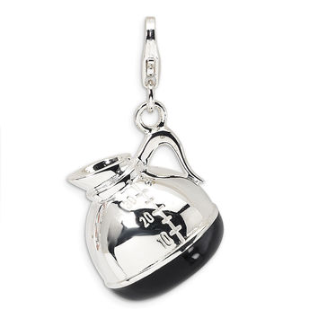 Sterling Silver 3-D Enameled Coffee Pot w/Lobster Clasp Charm QCC271