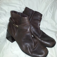 Vintage Vero Studio Brown Leather Ankle Boots- Buckle Strap - Zip Up Closure - Size 7 1/2 M