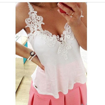 White Lace and Chiffon Patchwork Blouse Women Fashion Blusas