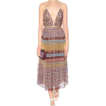 Embroidered cotton-blend maxi dress