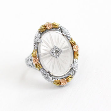 Antique 10k White Gold Rock Crystal Diamond Ring - Vintage Size 4 3/4 Filigree Art Deco Rare Camphor Glass Yellow Rose Gold Fine Jewelry A&S