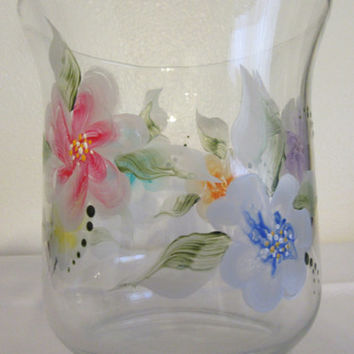Hand Painted Clear Glass Vase - Red, Blue, Purple, Yellow, Aqua, and Orange Florals